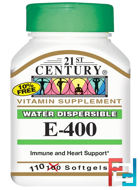 E-400, Water Dispersible, 21st Century, 110 Softgels