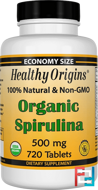 Organic Spirulina, Healthy Origins, 500 mg, 720 Tablets