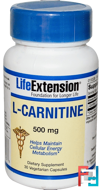 L-Carnitine, Life Extension, 500 mg, 30 Veggie Caps
