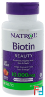 Biotin, Natural Strawberry Flavor, 10,000 mcg, Natrol, 60 Tablets