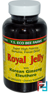 Royal Jelly, with Korean Ginseng Eleuthero, Y.S. Eco Bee Farms, 65 Capsules