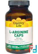 L-Arginine Caps, Country Life, 500 mg, 100 Veggie Caps