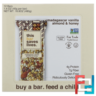 Madagascar Vanilla Almond & Honey, This Bar Saves Lives, LLC, 12 Bars, 1.4 oz (40 g) Each