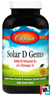 Solar D Gems, Natural Lemon Flavor, Carlson Labs, 2,000 IU, 360 Soft Gels