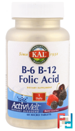 B-6 B-12 Folic Acid, Berry, KAL, 60 Micro Tablets