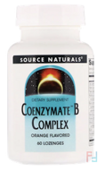 Coenzymate B Complex, Orange Flavored Sublingual, Source Naturals, 60 Tablets