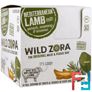 Meat & Veggie Bar, Mediterranean Lamb with Spinach, Rosemary & Turmeric, Wild Zora Foods LLC, 10 Packs, 1.0 oz (28 g) Each