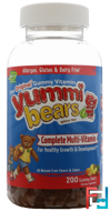 Yummi Bears, Complete Multi-Vitamin, All Natural Fruit Flavors & Colors, Hero Nutritional Products, 200 Gummy Bears