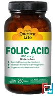 Folic Acid, Country Life, 800 mcg, 250 Tablets