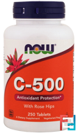 C-500 With Rose Hips, Now Foods, 250 Tablets