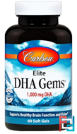 Elite DHA Gems, Carlson Labs, 1,000 mg, 60 Softgels