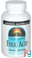 Folic Acid, 800 mcg, Source Naturals, 500 Tablets