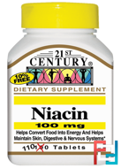 Niacin, 100 mg, 21st Century, 110 Tablets