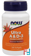 Ultra A & D-3, 25,000/1,000 IU, Now Foods, 100 Softgels