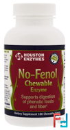 No-Fenol, Chewable, Multi-Enzyme, Houston Enzymes, 180 Chewable Tablets