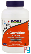 L-Carnitine, Now Foods, 1000 mg, 100 tablets
