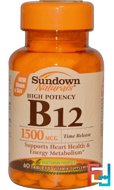 B-12, High Potency, Time Release, 1500 mcg, Sundown Naturals, 60 Tablets