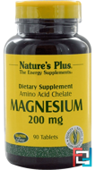 Magnesium, Nature's Plus, 200 mg, 90 Tablets