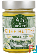 Ghee Butter, Grass-Fed, Original Recipe, 4th & Heart, 9 oz (255 g)