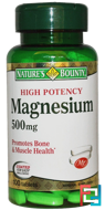 Magnesium, High Potency, 500 mg, Nature's Bounty, 100 Coated Tablets