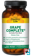 Country Life, Grape Complete, Includes Pine Bark, 90 Veggie Caps