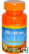 B6, Thompson, 100 mg, 60 Tablets
