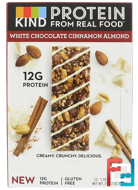 Protein Bars, White Chocolate Cinnamon Almond, KIND Bars, 12 Bars, 1.76 oz (50 g) Each