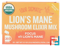 Lion's Mane, Mushroom Elixir Mix, Four Sigmatic, 20 Packets, 0.1 oz (3 g) Each