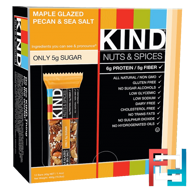 Nuts & Spices, Maple Glazed Pecan & Sea Salt, KIND Bars, 12 Bars 1.4 oz (40 g) Each