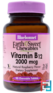 EarthSweet Chewables, Vitamin B12, Natural Raspberry Flavor, Bluebonnet Nutrition, 2,000 mcg, 90 Chewable Tablets