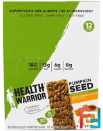 Health Warrior, Inc., Pumpkin Seed Superfood Bar, Honey Cracked Pepper with Turmeric, 12 Bars, 1.23 oz (35 g) Each