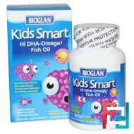 Kids Smart, Hi DHA-Omega 3 Fish Oil, Berry Flavor, Bioglan, 30 Chewable Burstlets