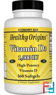 Vitamin D3, 1,000 IU, Healthy Origins, 360 Softgels