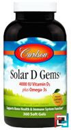 Solar D Gems, Natural Lemon Flavor, Carlson Labs, 4000 IU, 360 Soft Gels