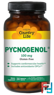 Pycnogenol, Country Life, 100 mg, 30 Veggie Caps