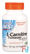Best L-Carnitine Fumarate, Doctor's Best, 855 mg, 60 Veggie capsules