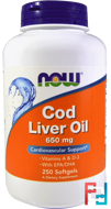 Cod Liver Oil, 650 mg, Now Foods, 250 Softgels