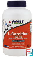L-Carnitine, Now Foods, 500 mg, 180 Vcapsules