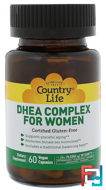 DHEA Complex, For Women, Country Life, 60 Veggie Caps
