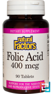Folic Acid, 400 mcg, Natural Factors, 90 Tablets