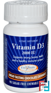 Vitamin D3, Sugar-Free Chocolate, 2,000 IU, Enzymatic Therapy, 90 Chewable Tablets