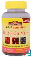 Adult Gummies, Hair, Skin and Nails, Mixed Berry, Cranberry & Blueberry, Nature Made, 90 Gummies