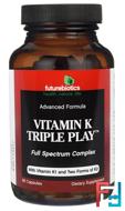 Vitamin K Triple Play, FutureBiotics, 60 Capsules
