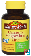 Calcium Magnesium  Zinc, Nature Made, 100 Tablets
