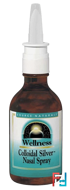 Wellness, Colloidal Silver Nasal Spray, 10 PPM, Source Naturals, 2 fl oz (59.14 ml)
