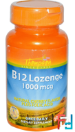B12 Lozenge, Natural Cherry Flavor, Thompson, 1000 mcg, 30 Lozenges