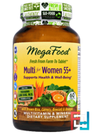Multi for Women Over 55+, Multivitamin & Mineral, Iron Free, MegaFood, 60 Tablets