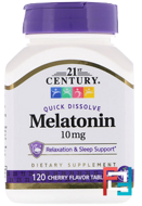 Melatonin, 21st Century, Cherry Flavor, 10 mg, 120 Quick Dissolve Tablets