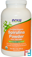 Certified Organic Spirulina Powder, Now Foods, 1 lb, 454 g