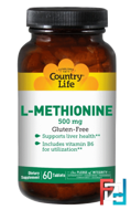 L-Methionine, Country Life, 500 mg, 60 Tablets